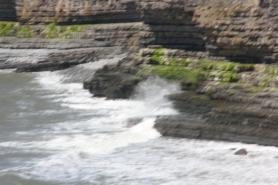 Seaweed strewn cliffs